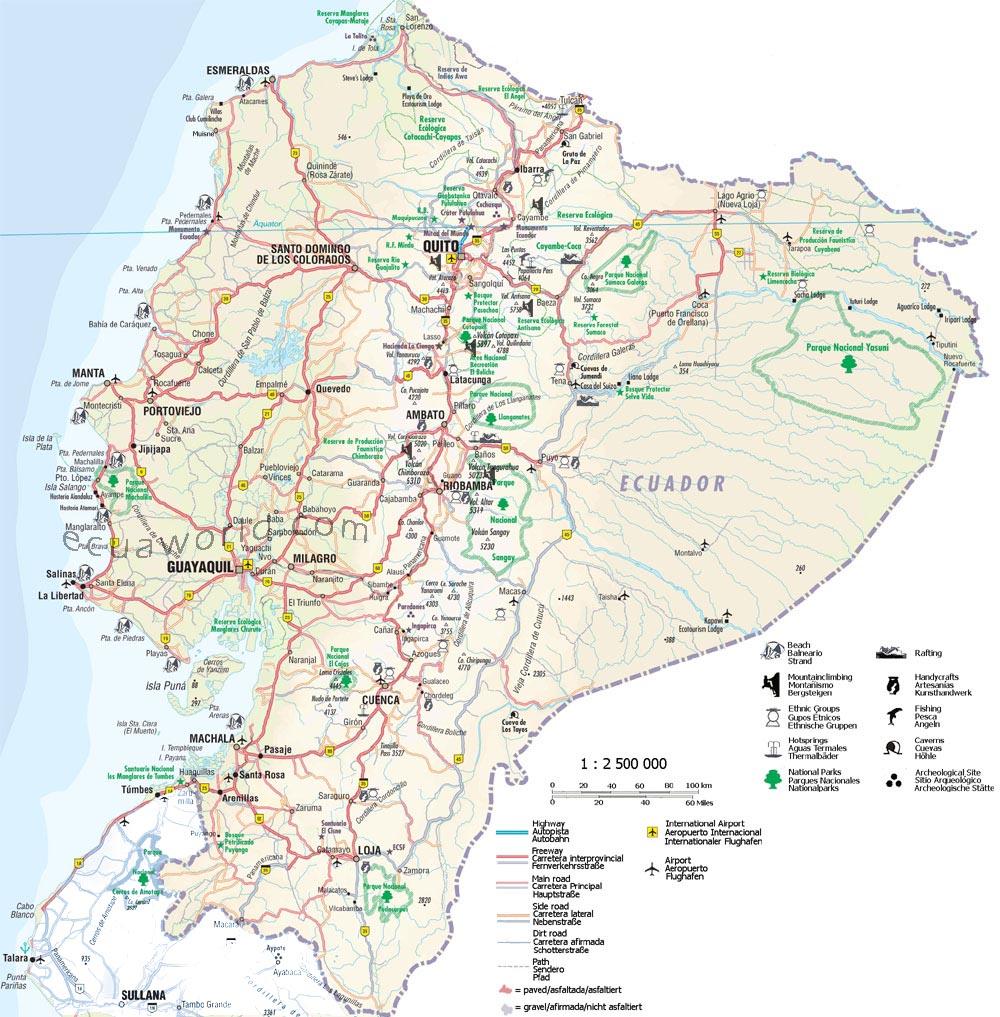 Ecuador Roads Through Ecuador From The Coast To The Andes To The - Map ecuador